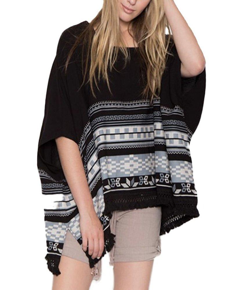 Linen Navajo Poncho In Black