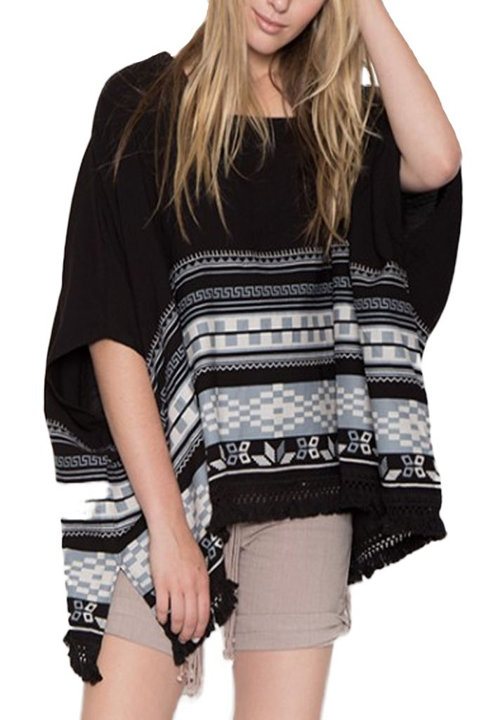 Linen Navajo Poncho In Black