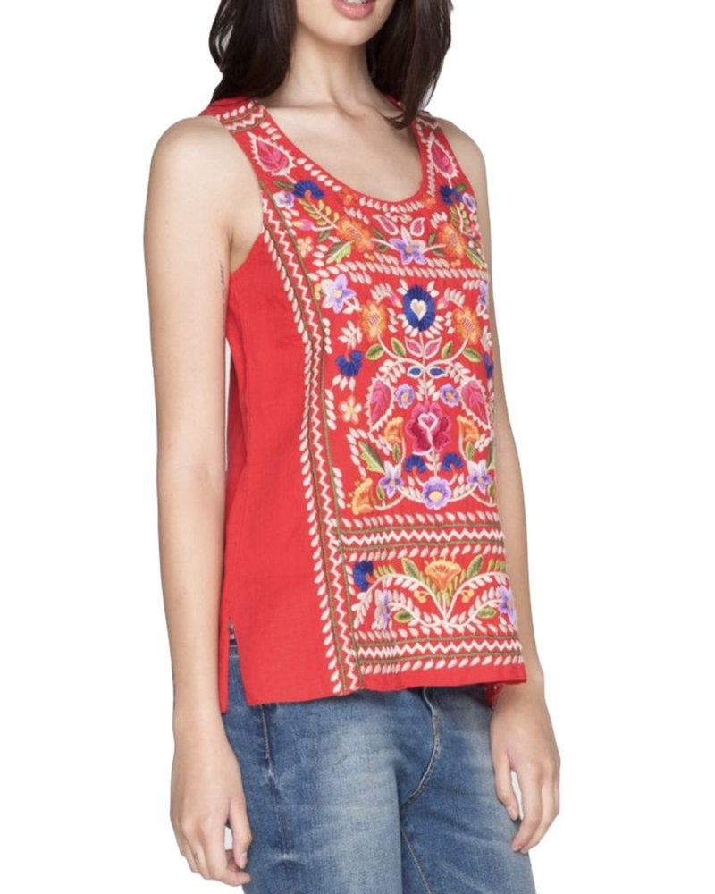 Josephine Crop Tank In Picnic Blanket Red