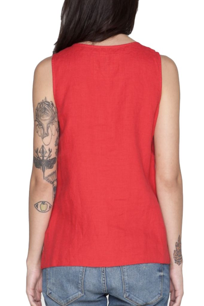 Josephine Crop Tank In Picnic Blanket Red
