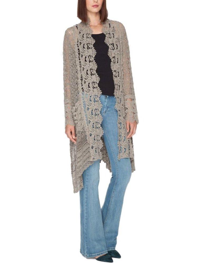 Johnny Was Flowy Crochet Jacket In Stone