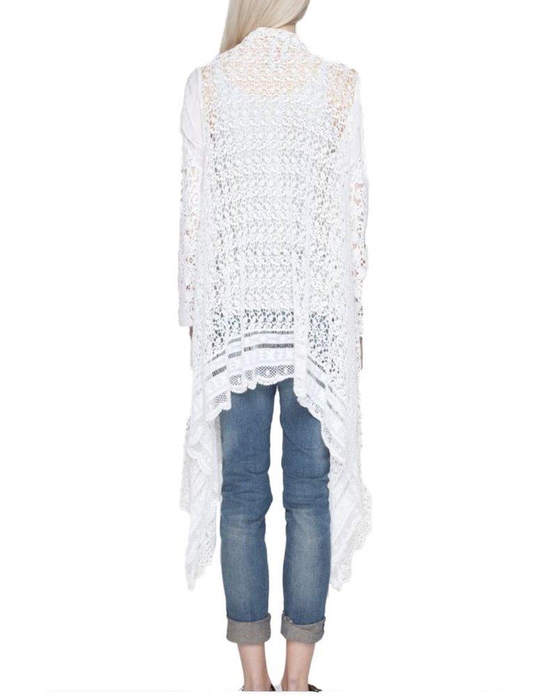 Johnny Was Swirl Crochet Jacket In White