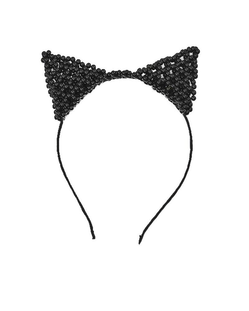 Kitty Ear Headband In Black Pearls