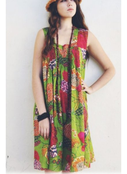 Shirred Shift Dress In Exotic Greens