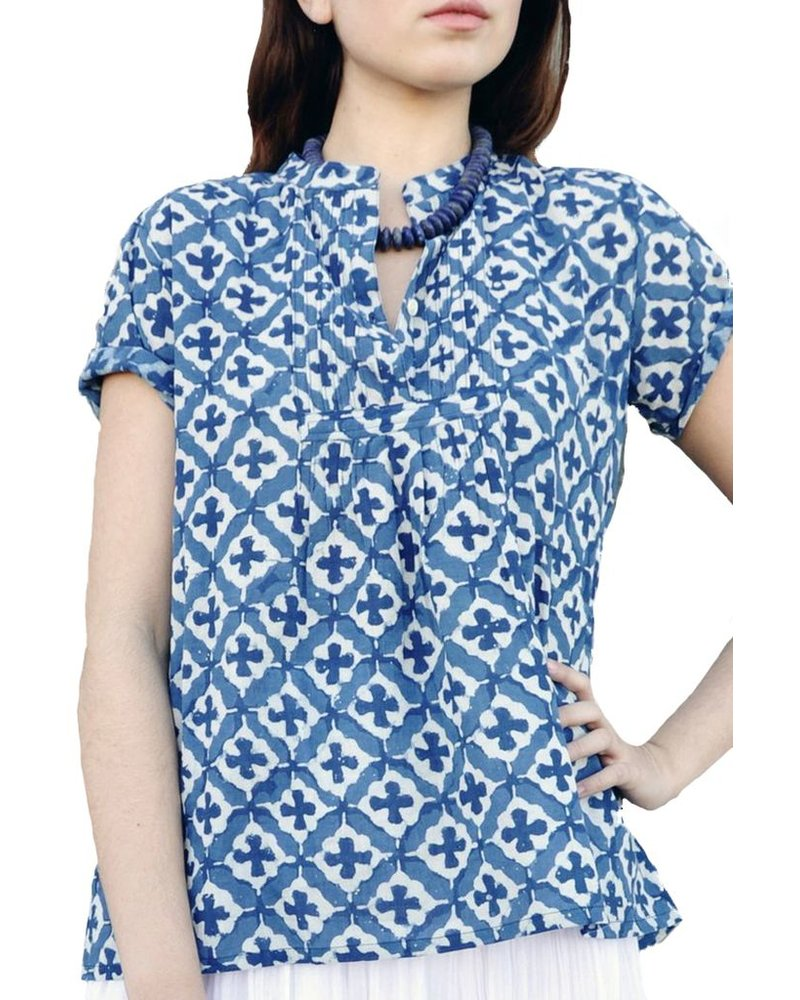 Indigo Tile Short Sleeve Shirt