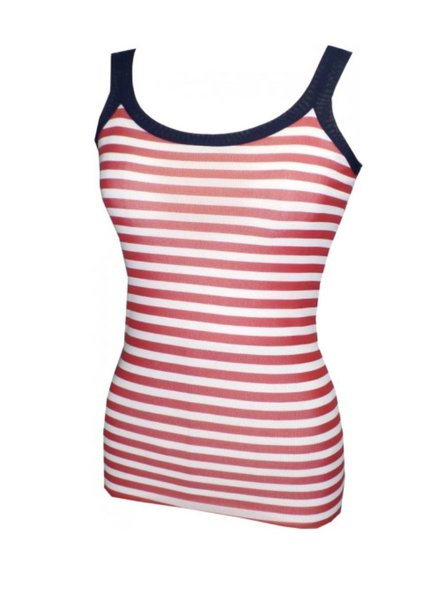 French Girl Tank In Red & White Stripes