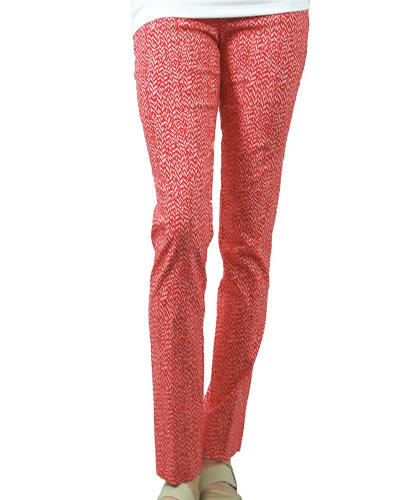 The Ankle Cigarette Magic Pant In Cardinal Print
