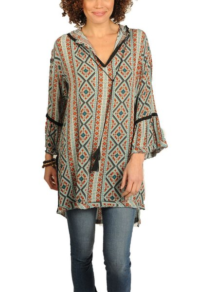 Uncle Frank Mid Sleeve Tunic Hoodie in Black Aztec