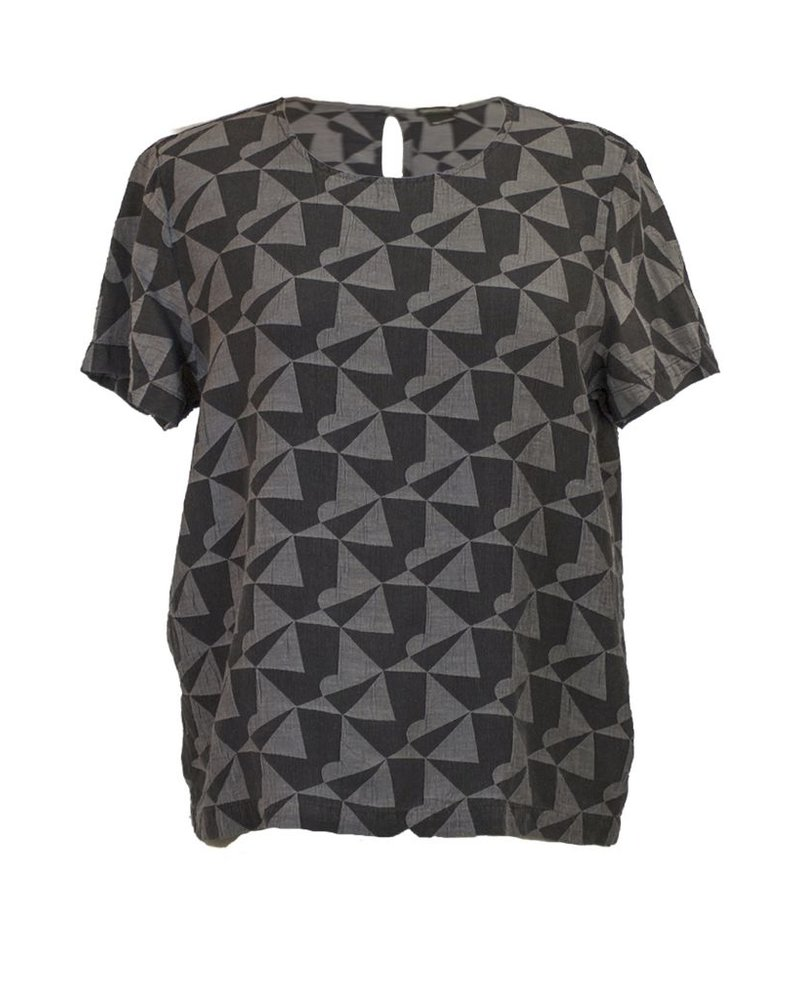 Griza's Geo Blend Boxy Top In  Black & Grey