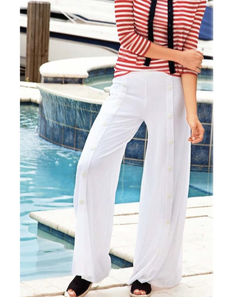 Petit Pois Palazzo Sailor Pant In White