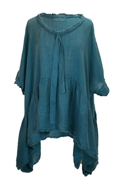 Griza's Washed Linen Babydoll Top In Sea Green