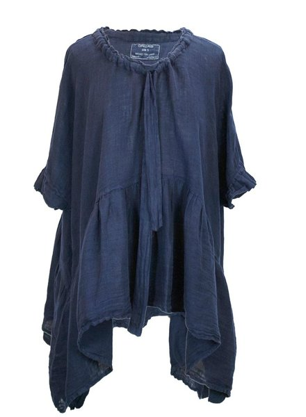 Griza's Washed Linen Babydoll Top In Navy