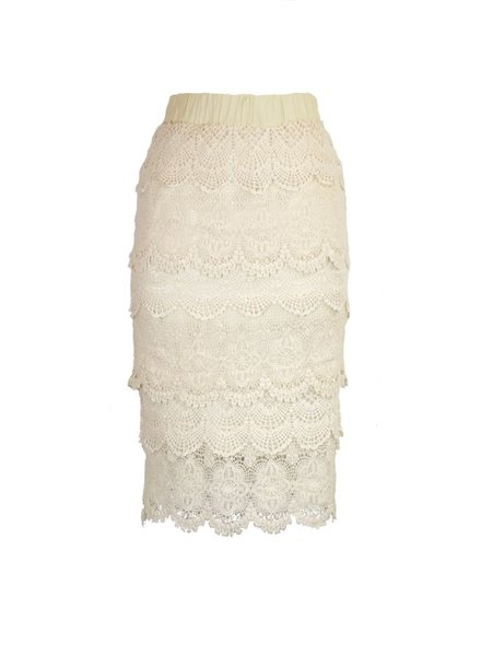 Crochet Lace Pencil Skirt In Cream