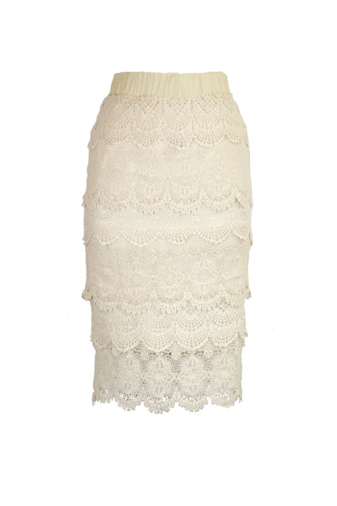Crochet Lace Pencil Skirt In Cream