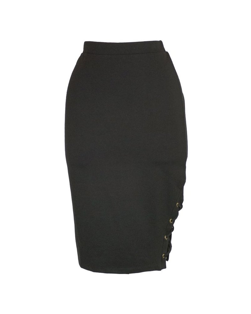 Side Lace Up Skirt In Black