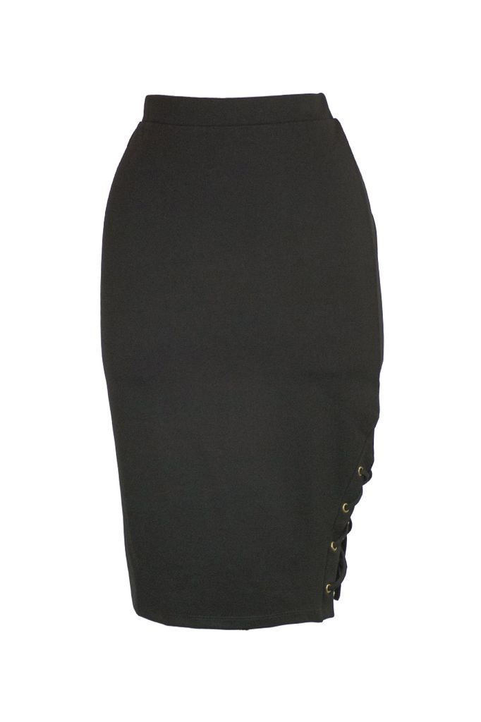 Side Lace Up Skirt In Black Shady And Katie