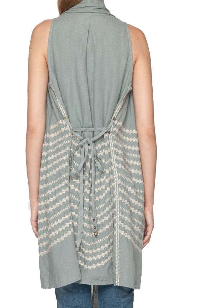 Johnny Was Petra Draped Vest In Shale Grey
