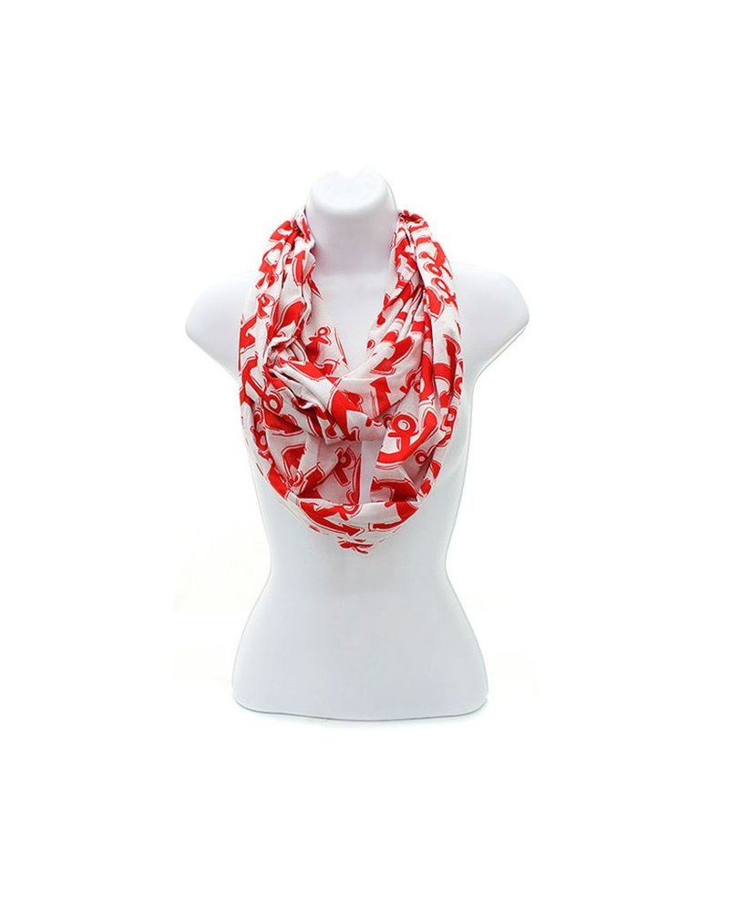 Anchor Print Cotton Infinity Scarf  <br /> <br /> Black  Red  Teal