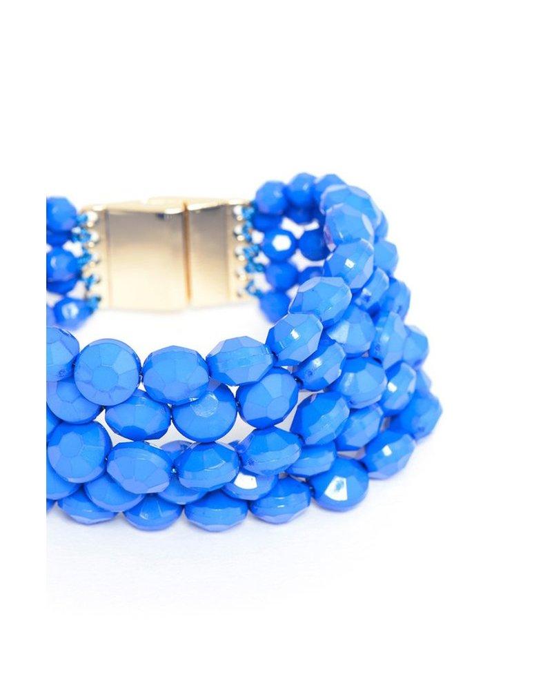Bold Beaded Bracelet In Colbalt