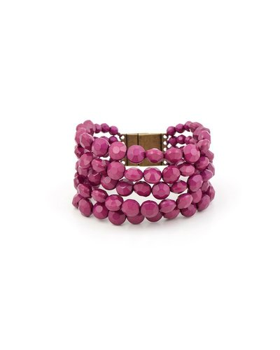 Bold Beaded Bracelet In Plum