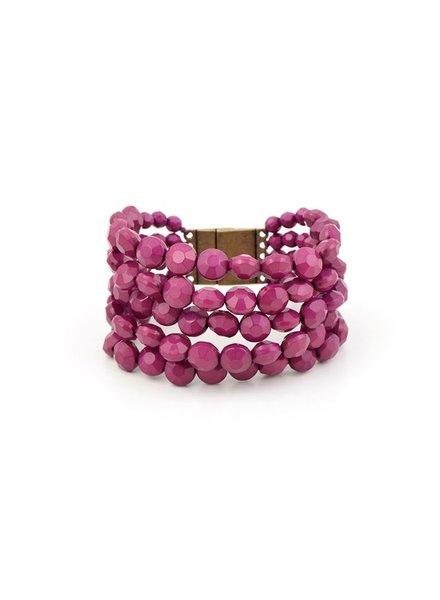 Bold Beaded Bracelet In Plum