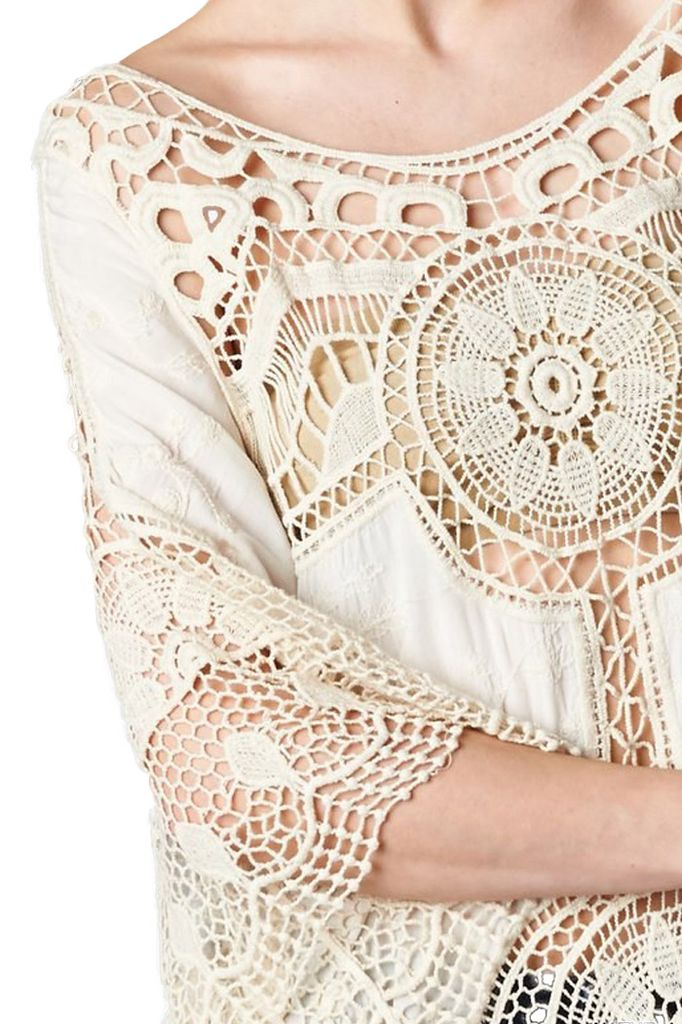 Crochet Lace Top In Natural