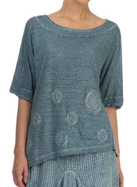 Griza's Diagonal Dot Top In Grey Blue
