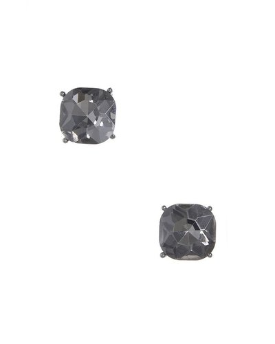 Chic Giant Crystal Stud Earrings In Hemitite