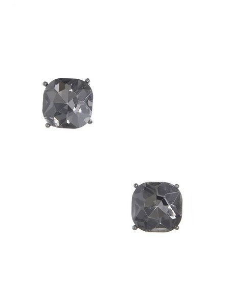 Chic Giant Crystal Stud Earrings In Hemitite