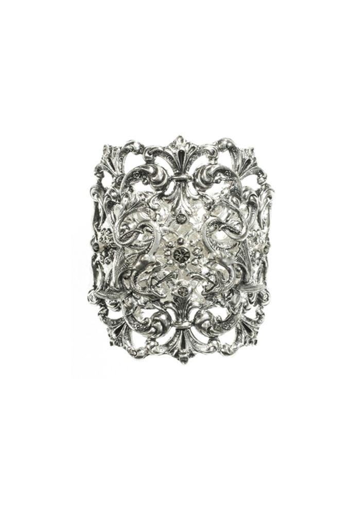 Virgins, Saints & Angels Double Dragon Cuff In Silver
