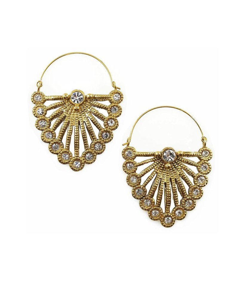 VSA Designs Feather Earrings In Gold and Clear