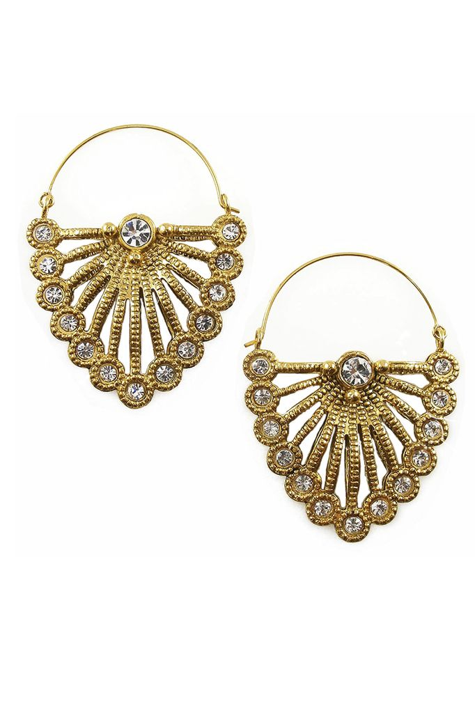 Feather Earrings In Gold and Clear
