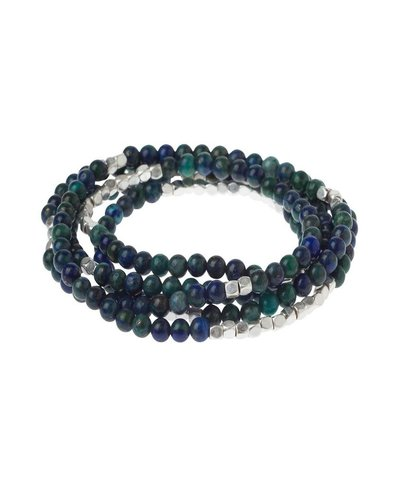 Wrap Bracelet Or Necklace In Azurite & Silver