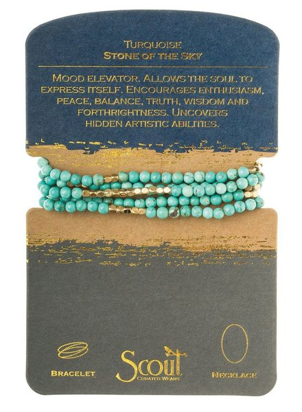 Bracelet Or Necklace Wrap In Turquoise & Gold