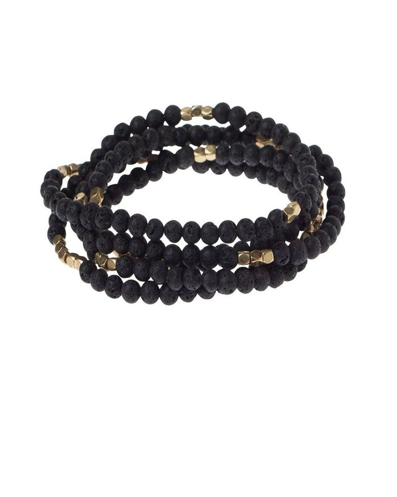 Wrap Bracelet Or Necklace In Lava Stone & Gold