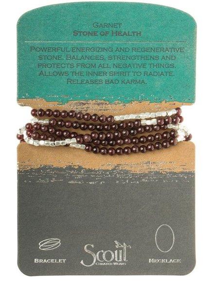 Wrap Bracelet Or Necklace In Garnet & Silver