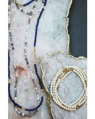 Wrap Bracelet Or Necklace In Ocean Agate & Sliver