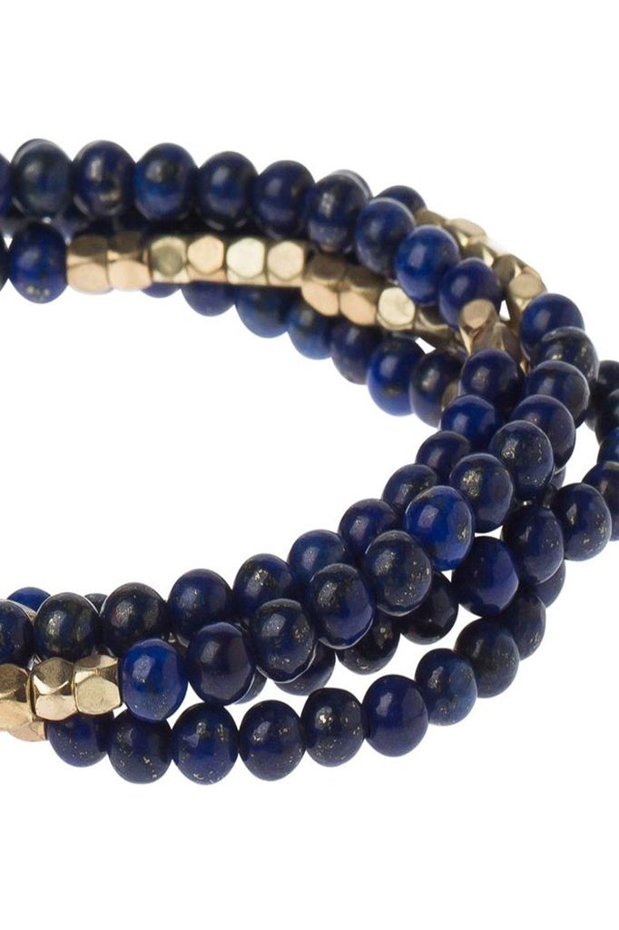 Wrap Bracelet Or Necklace In Sodalite & Gold
