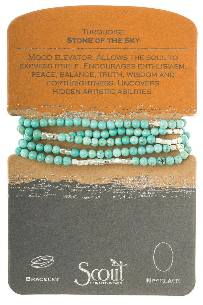 Wrap Bracelet or Necklace In Turquoise & Silver