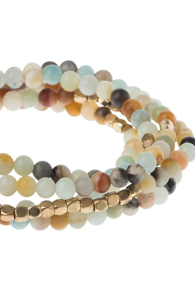 Wrap Bracelet Or Necklace In Amazonite & Gold