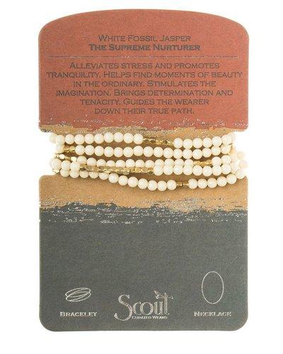 Wrap Bracelet Or Necklace In White Fossil Jasper