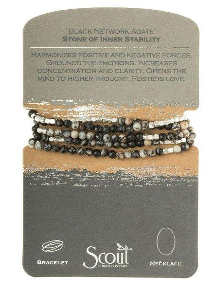 Wrap Bracelet Or Necklace In Black Network Agate & Silver