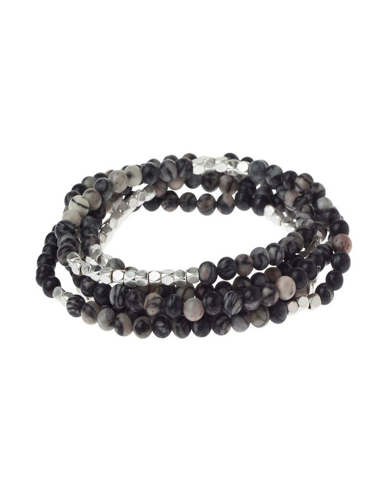 Wrap Bracelet Or Necklace In Black Network Agate & Silver