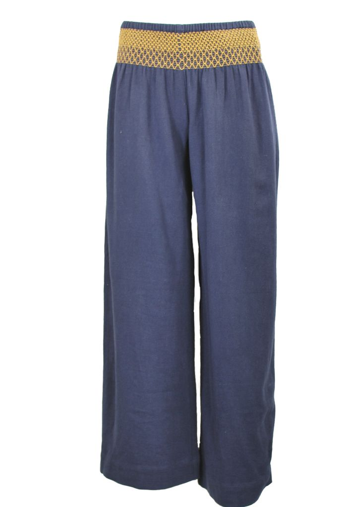 Ivy Jane S Wide Leg Smocked Waist Pant In Denim Shady