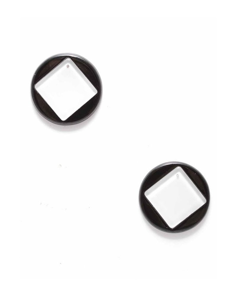 Geo Stud Earrings In Black & White