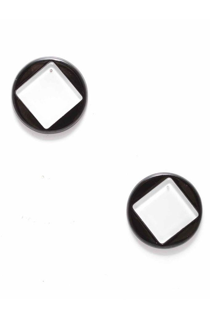 Geo Stud Earrings In Black & White