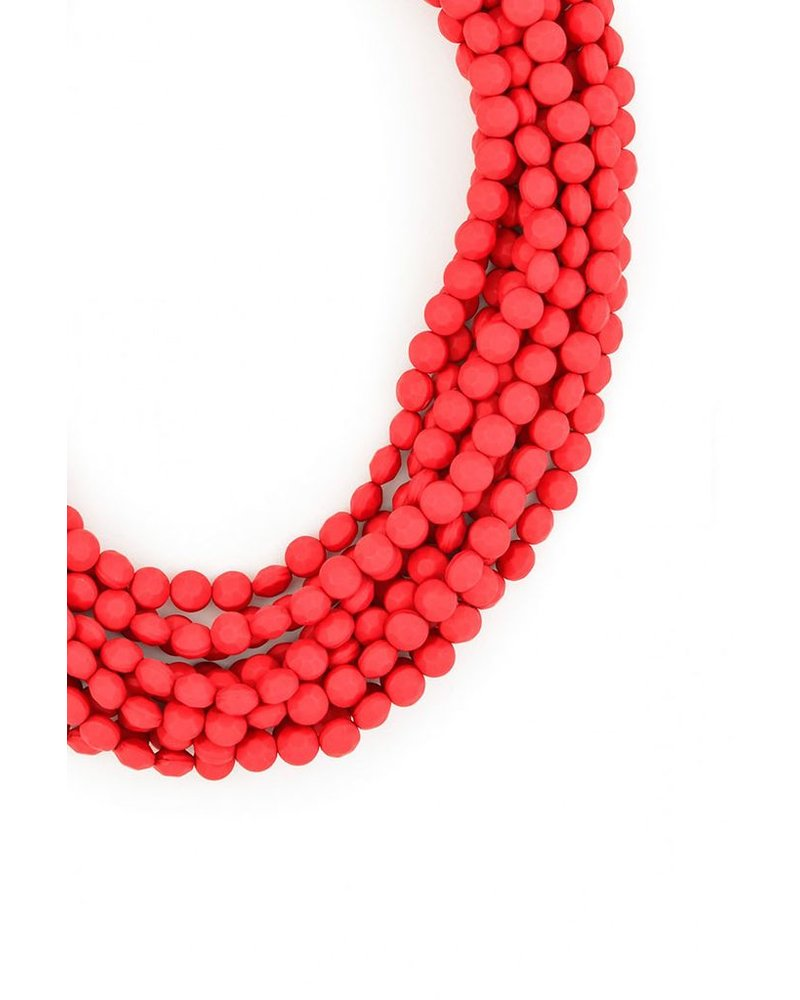 Multi Strand Matte Necklace In Red