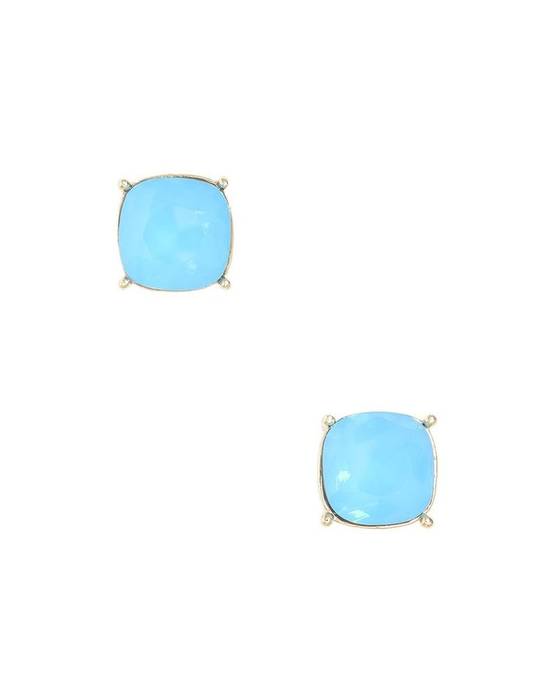 Chic Giant Crystal Studs In Light Turquoise
