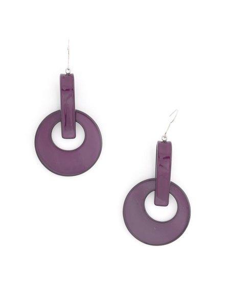Resin Door Knocker Earrings In Plum
