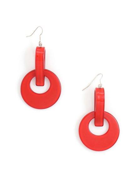 Resin Door Knocker Earrings In Red